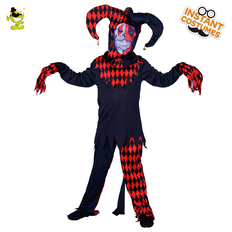 New Arrival Child Evil Jester Kids Clown Costumes Masquerade Halloween Party Scary Clown Suit Imitation Party Dress Up