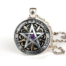 Steampunk Fashion Wiccan  Necklace black magick Pagan Pentagram pendant Round Glass Dome Gift Women Men Chain antique HZ1