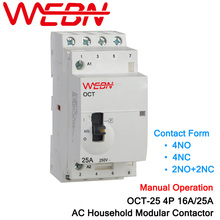 OCT-25 Series 4P 16A/25A Manual Operation AC Household Din Rail Modular Contactor 220V/230V 50/60Hz Contact Form 4NO/2NO+2NC/4NC 35mm din rail mounted 3p 4no 4nc 380vac coil contactor type relay jzc1 44
