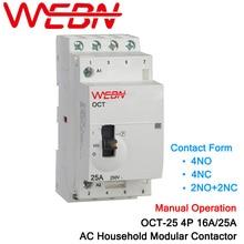 OCT-25 Series 4P 16A/25A Manual Operation AC Household Din Rail Modular Contactor 220V/230V 50/60Hz Contact Form 4NO/2NO+2NC/4NC стоимость