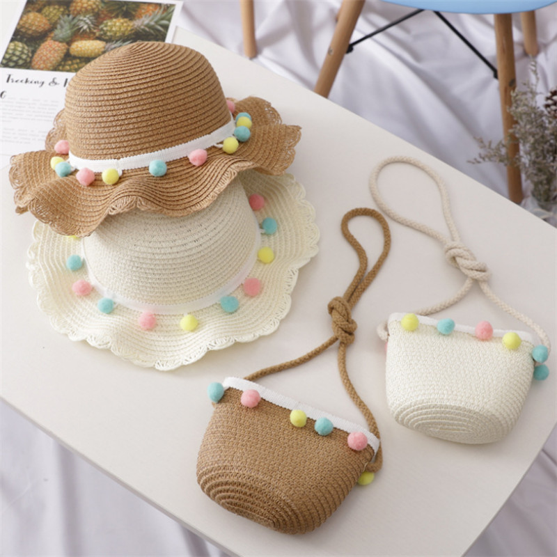 New Summer Children Beach Hats Set Wide Brim Yellow Straw  Wide Hat 3-7 Old Years Children's Holiday Travel Pink Beach Bags