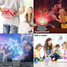 Wave Starry Sky LED Night Light Projector Novelty Lamp with Music Player USB Led Remote control Lamp Decorative for Kids Room