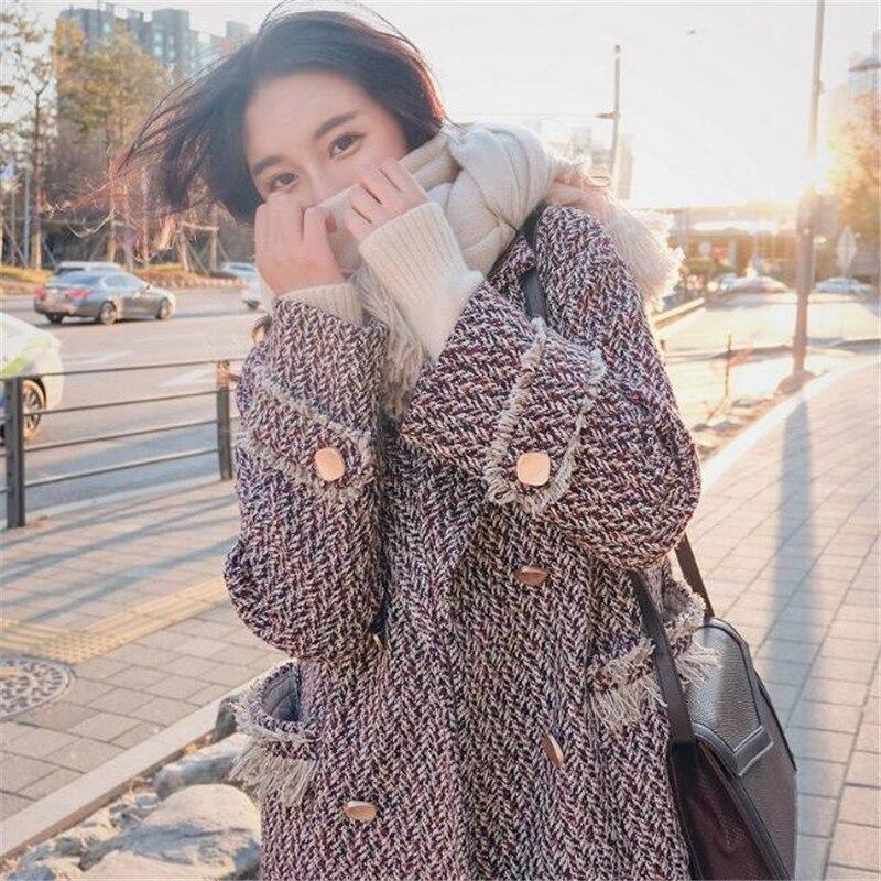 Longue Nouvelle Manteau Coréenne 2018 Version Épaissie De Mince Laine En Automne Hiver Picture Color Et La Gland Manteaux W9HIED2