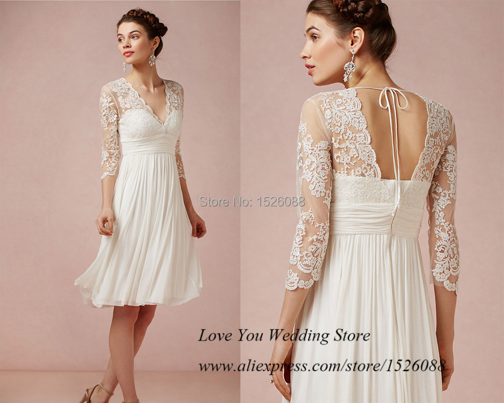 2015 Cheap Simple Short Wedding Dress Lace V Neck Knee