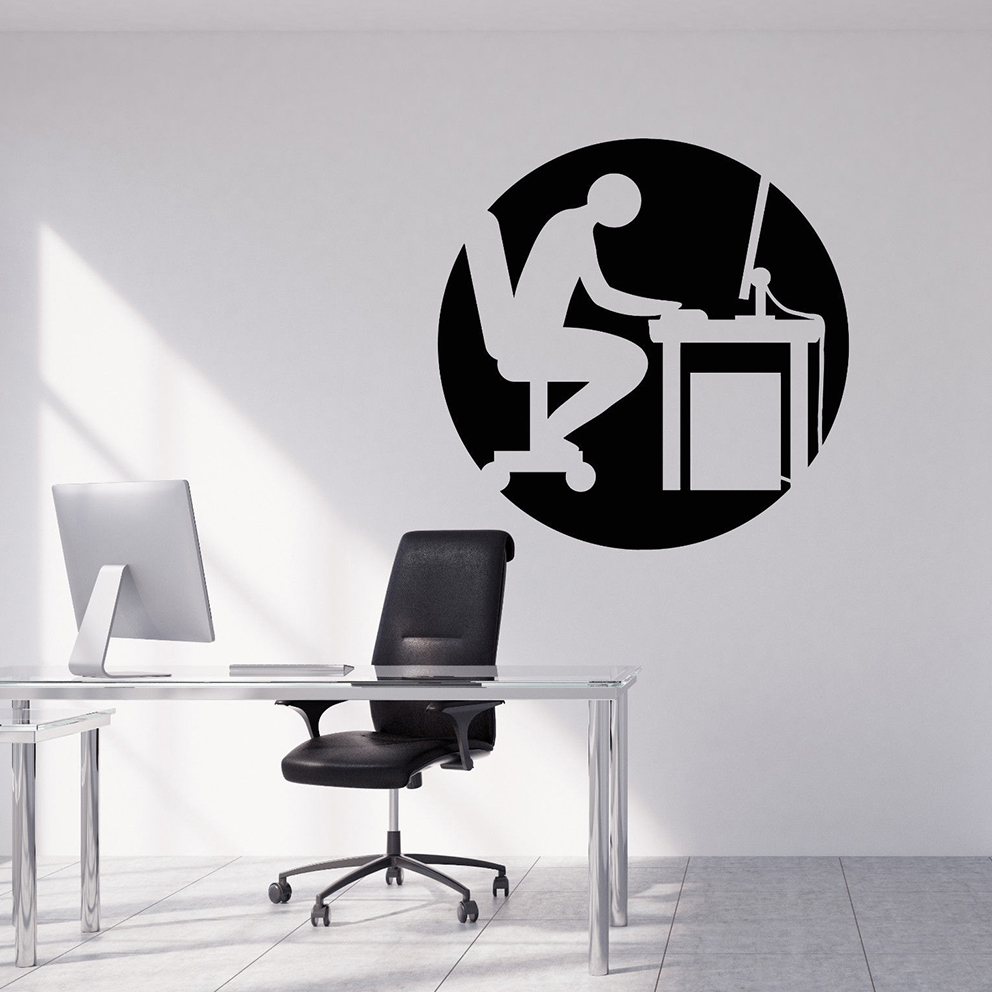 Vinyl Wall Decal Cartoon Office Style Worker Stickers
