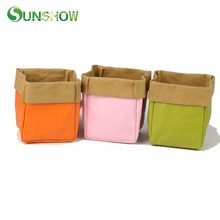 hot deal buy kraft paper storage bags orange green pink washable plant vegetable bag home storage organization laundry clothing oranganizer