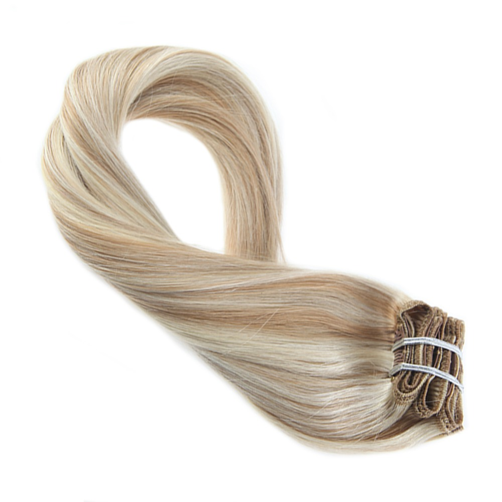 Moresoo Clip In Remy Human Hair Extensions Blonde Color #27 Mixed With Platinum Blonde #60 Thick Full Head Set 7Pcs 100g