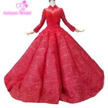 מקסים כדור שמלת אדום גבוהה צוואר תחרת אפליקציות חרוזים נצנצים Quinceanera שמלות קריסטלים לוקסוס שמלת ערב כדור 15 שנים