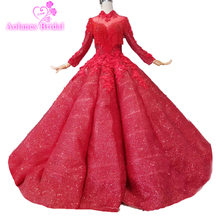 Charming Ball Gown Red High Neck Lace Appliques Beaded Glitters Quinceanera Dresses Crystals Luxurious Supper Ball Gown 15years
