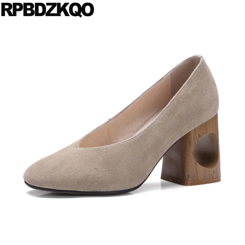 b4a54f30abef Size 4 34 Abnormal Round Toe Women High Heels Pumps Office Nude Shoe Block  Designer Suede Wooden Clogs 2017 Ladies Gray Fretwork