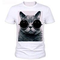 Wielkie Oko Kot T Shirt Człowiek Z Parą Okulary Serii zwierząt Drukowane Koszulki z krótkim rękawem 21 Style 3 D Chłopca T Shirt 9 #