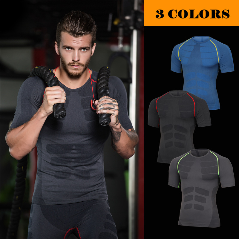 Mens Body Shaper Short Sleeves Quickly Dry Slimming Shirt Tummy Waist Tops Mens Underwear Fat Burning Lose Weigh S05