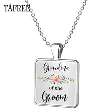 TAFREE Father/Mother/Sister Of Bride Groom Square Pendant Necklace Alloy Pendant Necklace Wedding Party Jewelry Gift BW15(China)