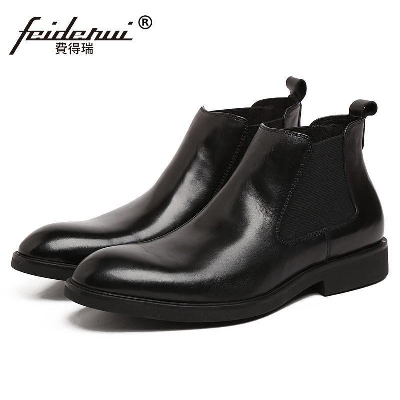 все цены на Top Quality Round Toe Brand Man Flat Platform Shoes Comfortable Genuine Leather Men's Handmade Cowboy Chelsea Ankle Boots PF55 онлайн