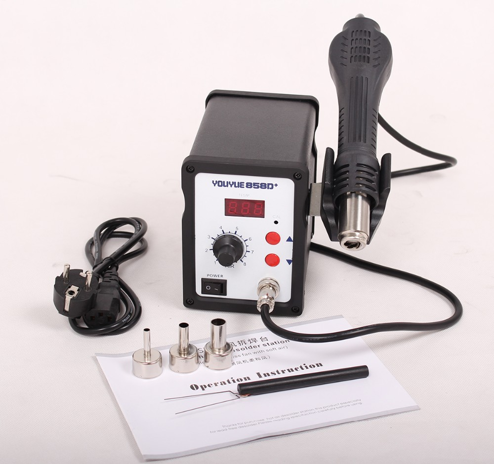 2017 Limited Youyue 858d+ 220v Hot Air Gun 700w Esd Soldering Station Led Digital Heat Desoldering Upgrade From 858d 3 Nozzle