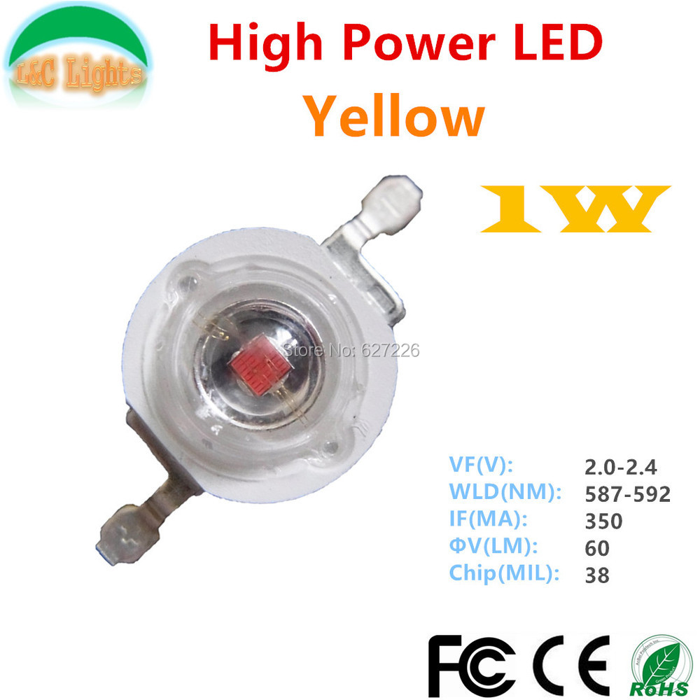 Wholesale Epileds 38MIL 1W 42MIL 3W Yellow LED 587nm - 592nm High Power LED 50000hours LED source CE RoHS LED diode 500 Pcs/Lot