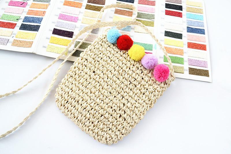 Discreet 25x21cm The New Straw Cabbage Wrapped Paper Rope Oblique Beach Bag Travel Holiday Hair Ball A2878 Shoulder Bags