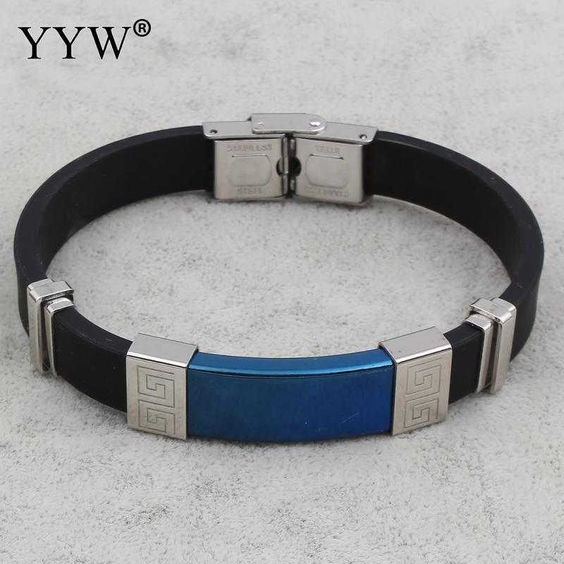New Designs Blue Tone Plated Punk Man Bracelets & Bangles Stainless Steel And Black Genuine Silicone Bracelet Cool Men Jewelry