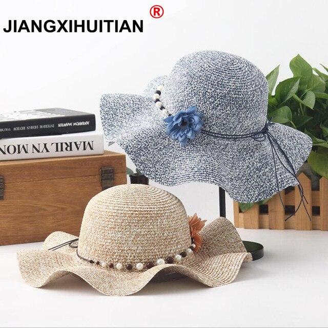 2018 nova pai-filho Bonito Pérolas chapéus de sol Menina feito à mão onda  aba 5b9abad049a