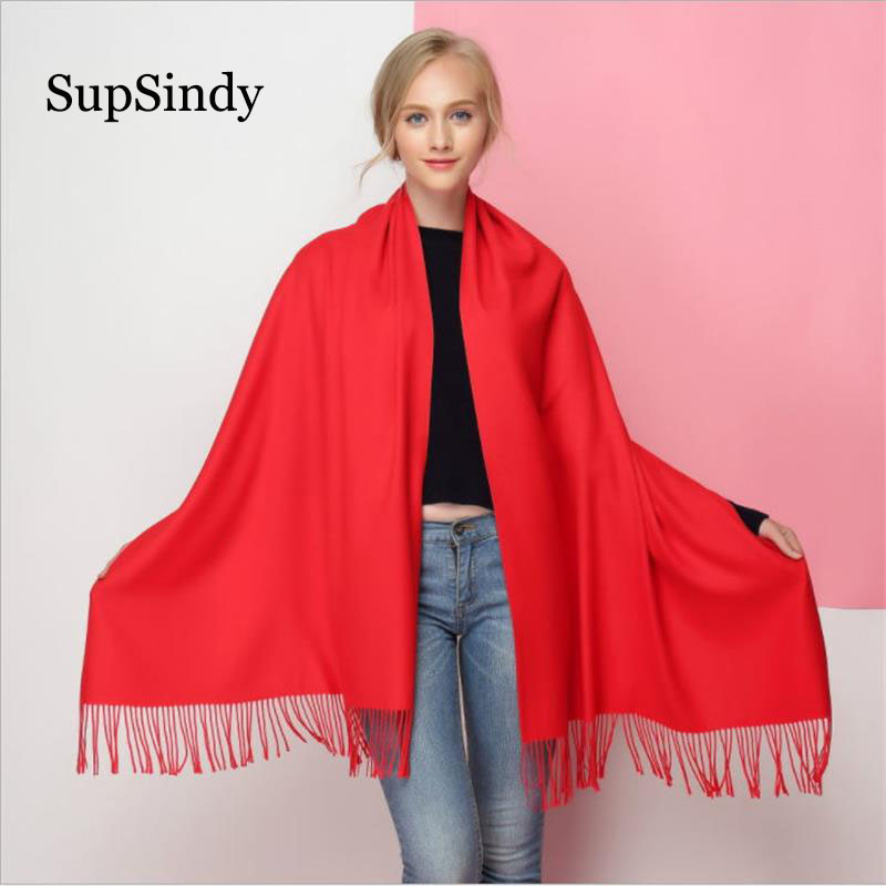 SupSindy Winter Scarf Thick Soft Warm Cashmere Wool Scarves For Women Luxury Brand Fashion Candy Colors Shawl Scarf With Tassels