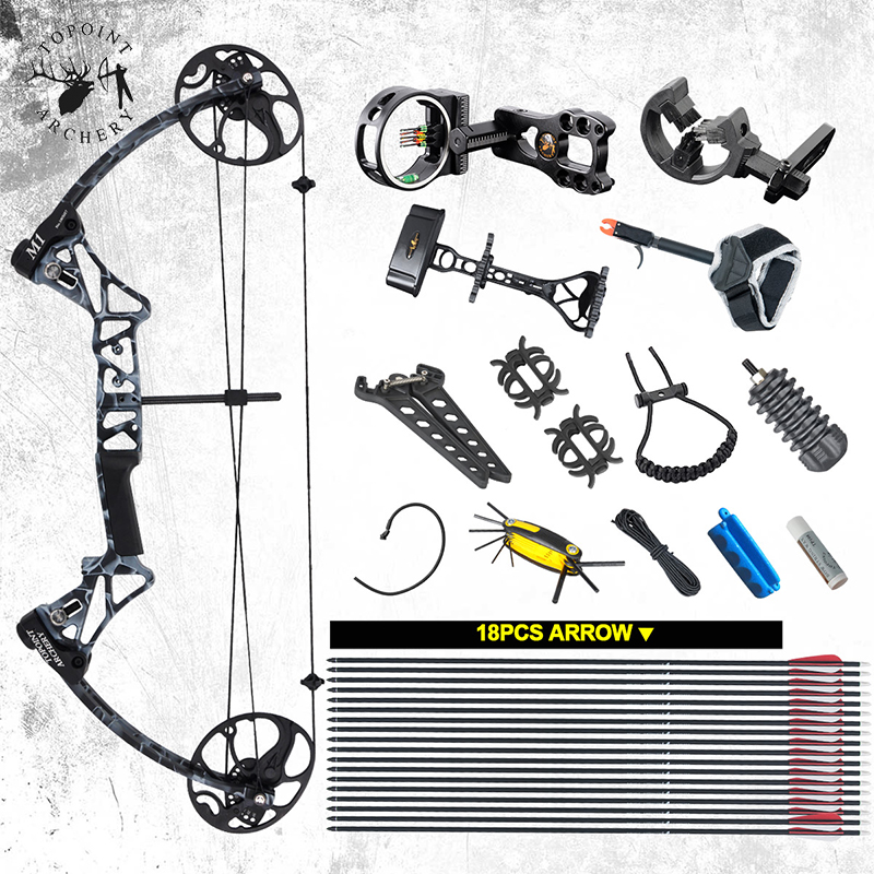 19 70 lbs Archery M1 Compound Bow Set Right Hand IBO320FPS CNC Bow Riser BCY String