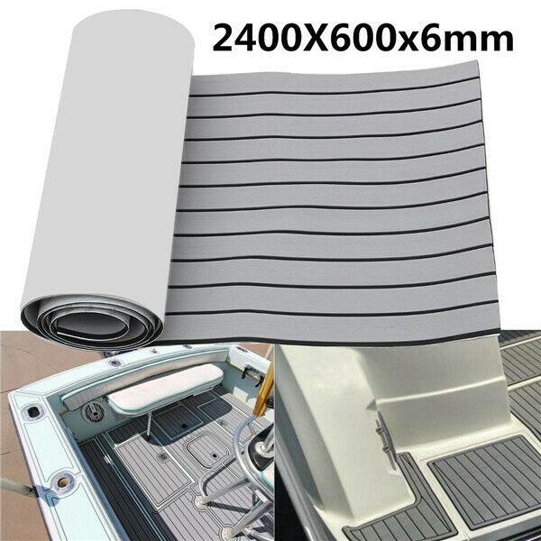 EVA mousse teck pont feuille auto-adhésif bateau Yacht synthétique platelage mousse tapis de sol 2400x600x6mm gris avec bandes noires