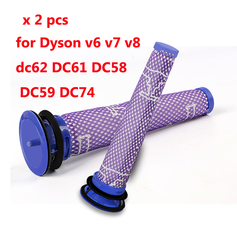 2 pcs Vacuum Cleaner Parts Pre Motor Washable HEPA Filter Motors Head for Dyson v6 v7 v8 dc62 DC61 DC58 DC59 DC74 # 965661-01 1pcs vacuum cleaner storage package for dyson v6 v7 v8 dc62 suction head storage bag