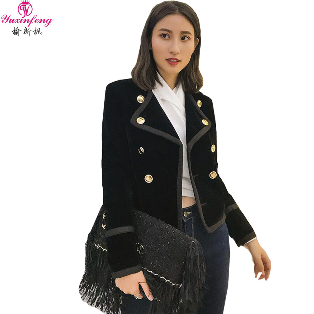 Back To Search Resultswomen's Clothing Yuxinfeng Spring Blue Velvet Blazer Women Button Doule Breasted Fashion Elegant Ladies Office Work Suit Blazer Coat Slim Jacket In Short Supply