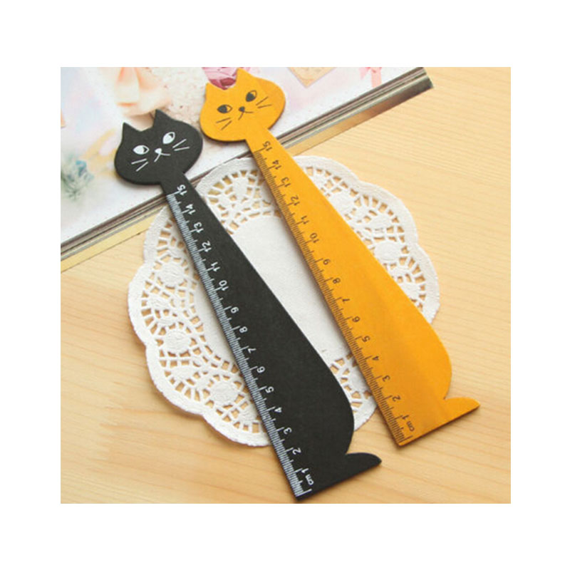 Wood Straight Ruler Black Yellow Lovely Cat Shape Ruler Gift For Kids Student Stationery Office School Supplies 15cm