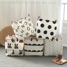 new Large Cotton Handle Folding Laundry Basket Toys Organizer Clothing Storage Bag Dirty Clothes Bucket Laundry Holder Stand Bin