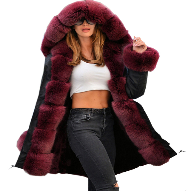77c08371263 Roiii 2018 Winter Luxury Wine Faux Fur Thick Hood Parka Long Down Jacket  Women Coat Loose Warm Female Plus Size Military Outwear