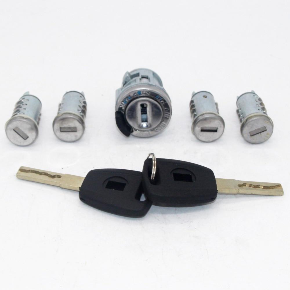 5pcs Complete Set Ignition Door Trunk Lock Barrel Cylinder for Fiat with SIP22 Blade keys