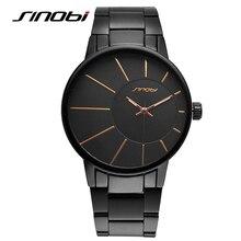SINOBI 2017 Homens Relógio de Aço Cheio relógios de Pulso Relógios de Luxo Da Marca de Moda Relógio Masculino Relógio de Quartzo dos homens Relógios Relogio F56