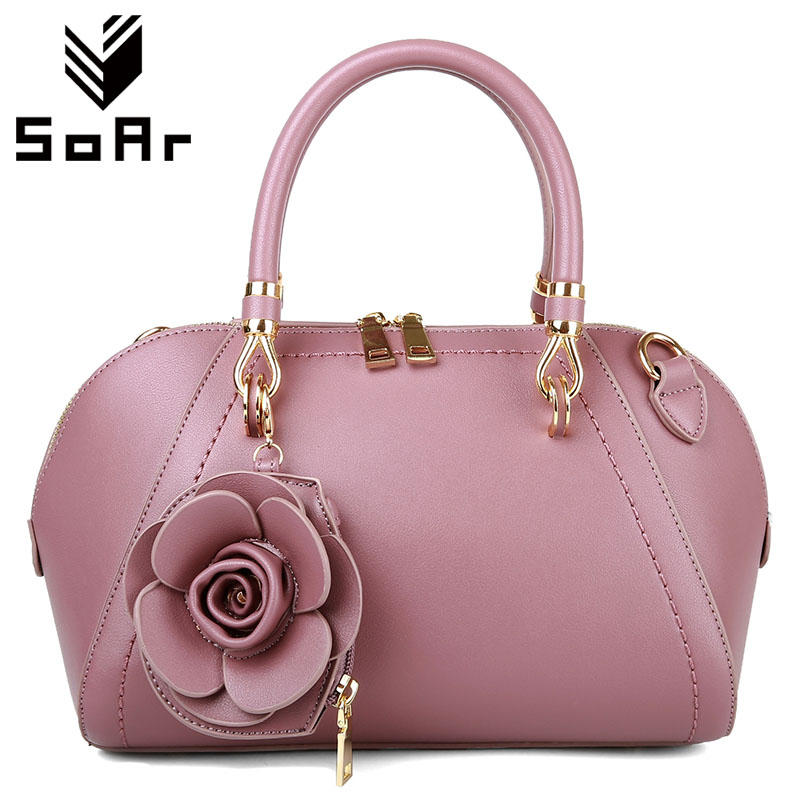 SoAr New Arrival Leather Bags Women Bag Luxury Brand Ladies Tote Shoulder Messenger Bags Lock New Fashion Flowers High Quality 4 цена
