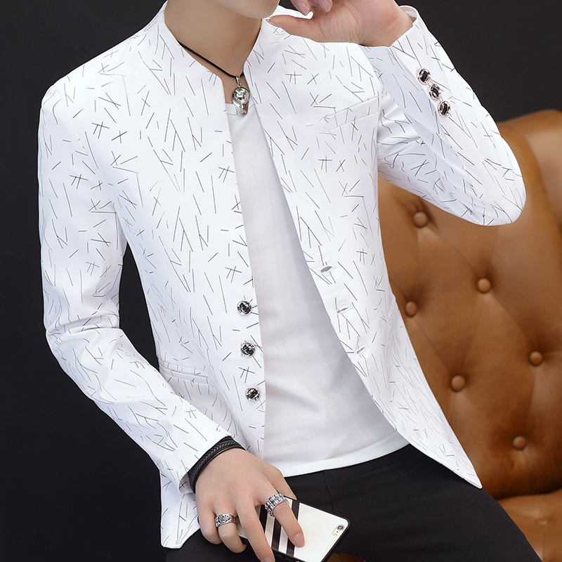 HO 2019 Men 's casual collar collar suit youth handsome trend Slim print suit(China)