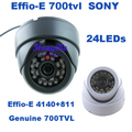 Genuine 1/3'' Sony CCD Effio-E 700tvl 24leds IR indoor HD 960H Security CCTV dome camera surveillance camera free shipping