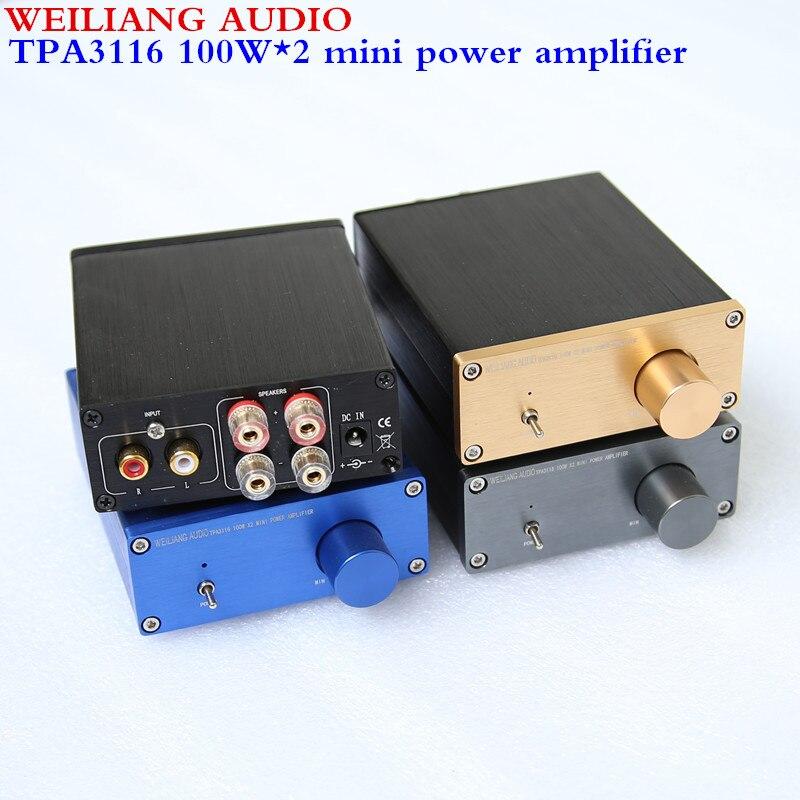 רוח אודיו Weiliang אודיו HiFi Class D אודיו מגבר כוח דיגיטלי TPA3116 2.0 min מגבר 100 W * 2 NE5532P * 1/TPA3116 * 2