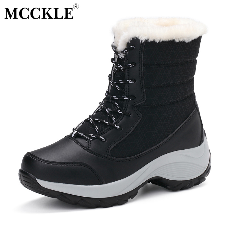 MCCKLE Women Winter Warm Plush Lace Up Ankle Snow Boots 2017 Female Fashion Platform Fur Suede Casual Shoes Plus Size 34-41 fashion women ankle boots suede tassels snow boots female warm plush bowtie fur rubber flat silp on platform black shoes casual