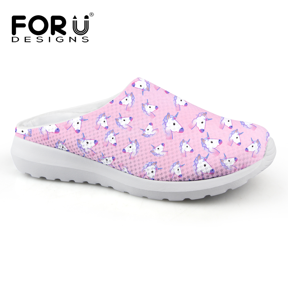FORUDESIGNS Pink Cute Horse Casual Brand Girls Woman Sandals Women Fashion Summer Home Slippers for Lady Mesh Beach Sandals instantarts women flats emoji face smile pattern summer air mesh beach flat shoes for youth girls mujer casual light sneakers