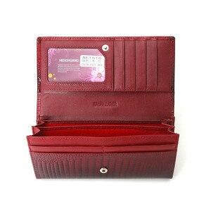 Image 5 - Billetera de piel auténtica de cocodrilo para mujer, billetera de mano larga, de cuero de vaca, de diseñador famoso