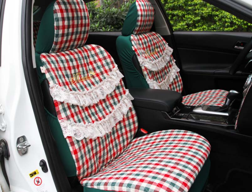 5 Pcs Set 2016 Auto Supply Four Season Women Car Seat Cover Cushion Girls Lace Lovely Cartoon Covers Female Style