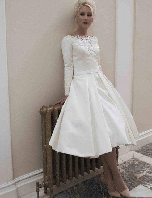 Scoop Appliques Button Tea Length Long Sleeve Prom Dress Taffeta A ...