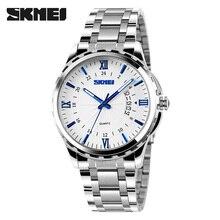 купить SKMEI 9069 Quartz Watch Men Fashion Casual Full Steel Auto Date Water Resistant Calendar Wristwatches Relogio Masculino по цене 846.99 рублей