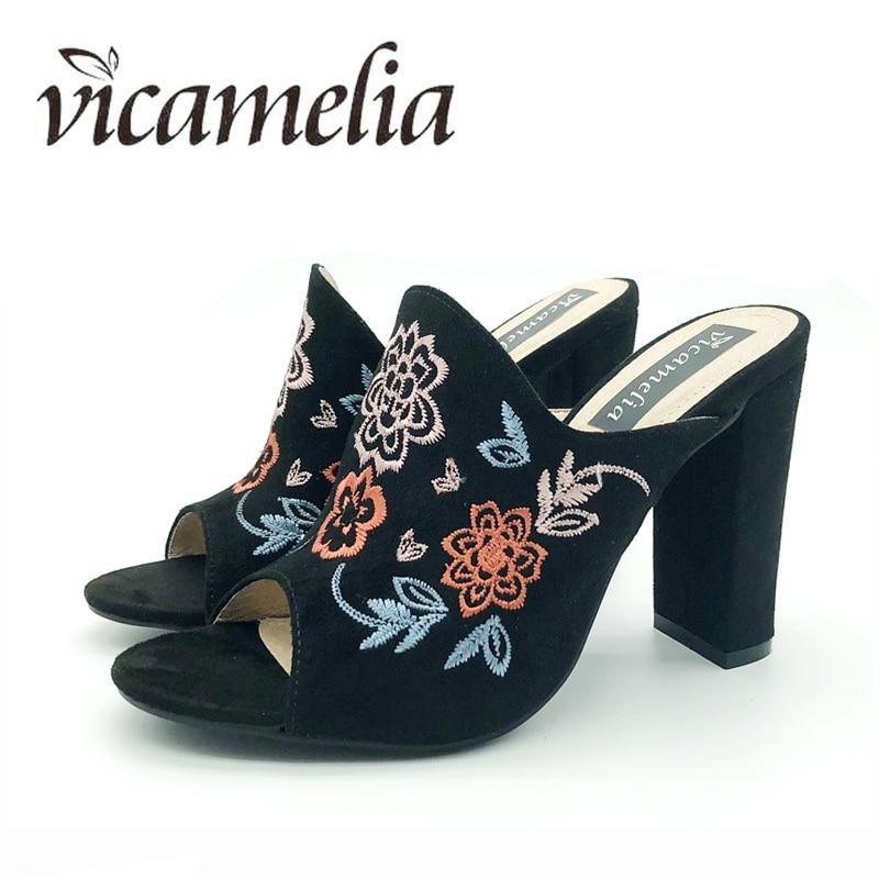Vicamelia nuevo bordado bloque de flores zapatillas de tacón punta - Zapatos de mujer