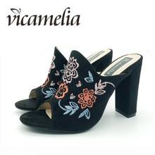 Vicamelia Baru Bordir Bunga Blok Tumit Sandal Kaki Terbuka Elegan Wanita Suede Sandal Tumit Tinggi Hitam Retro Sepatu Geser 567