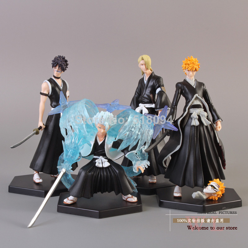 Anime Bleach Bleach Kurosaki ichigo Hitsugaya Toushirou Kira Iziru PVC Action Figure Collectible Model Toy 4pcs/set BLFG004