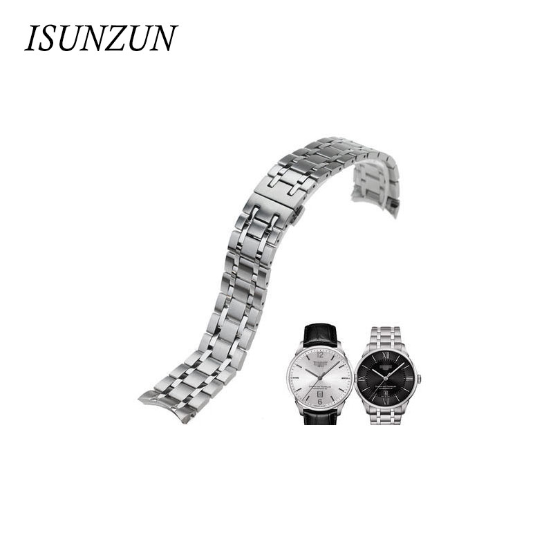 ФОТО Swiss Tech Quality Stainless Steel Watchband For Tissot 1853 For Chemin Des Tourelles For T099.407A Watch Strap Bands Bracelets