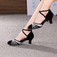Women Ladies Ballroom Modern Dance Shoes Closed Toe Indoor Dancing Shoes Tango Salsa Performance Heels 3