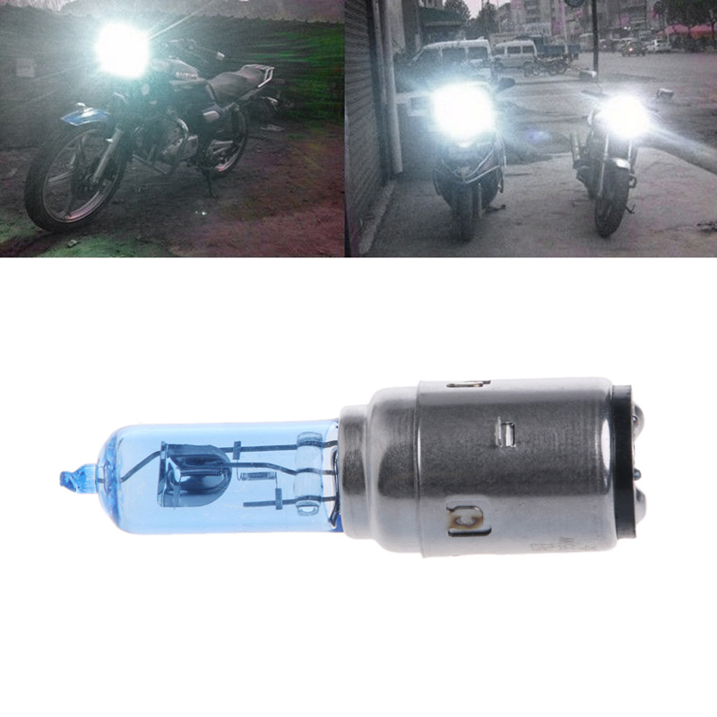 Motorcycle DC 12V 35W BA20D Headlight Halogen Bulb Xenon White Light
