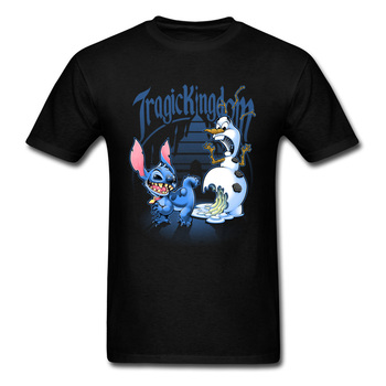 цена на Tragic Kingdom T-shirt Funny Men Tshirt Stitch Monster Snowman Print Tops Tees 2018 Discount Christmas Gift Clothes Cotton Blue